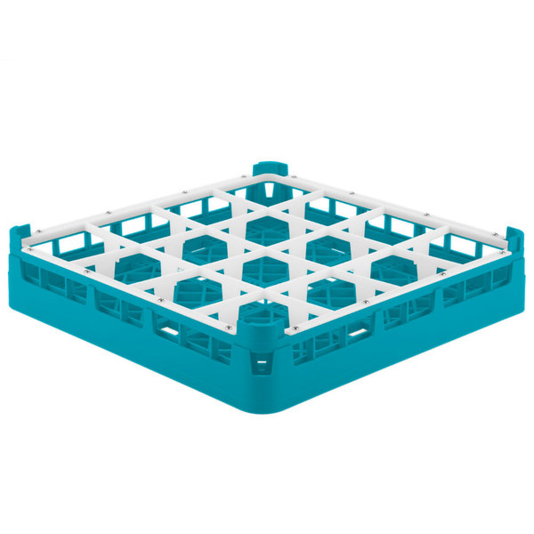 "Vollrath 52694 Signature Full-Size Light Blue 16-Compartment 2 13/16"" Short Glass Rack"