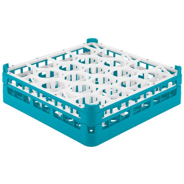 "Vollrath 52702 Signature Lemon Drop Full-Size Light Blue 20-Compartment 4 13/16"" Medium Plus Glass Rack"
