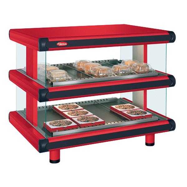 "Hatco GR2SDH-54D Warm Red Glo-Ray Designer 54"" Horizontal Double Shelf Merchandiser - 120/208V Main Image 1"