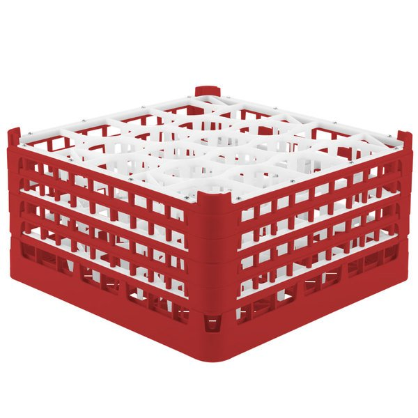 "Vollrath 52709 Signature Lemon Drop Full-Size Red 20-Compartment 9 1/16"" XX-Tall Plus Glass Rack"