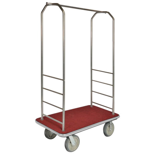 "CSL 2000GY-050 Chrome Finish Bellman's Cart with Rectangular Red Carpet Base, Gray Bumper, Clothing Rail, and 8"" Gray Polyurethane Casters - 43"" x 23"" x 72 1/2"""
