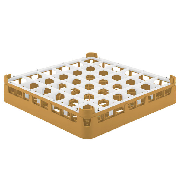 """Vollrath 52689 Signature Full-Size Gold 36-Compartment 2 13/16"""" Short Glass Rack"""