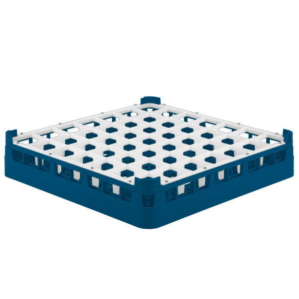"""Vollrath 52699 Signature Full-Size Royal Blue 49-Compartment 2 13/16"""" Short Glass Rack"""