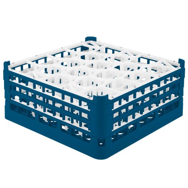 "Vollrath 52707 Signature Lemon Drop Full-Size Royal Blue 20-Compartment 7 11/16"" X-Tall Plus Glass Rack Main Image 1"
