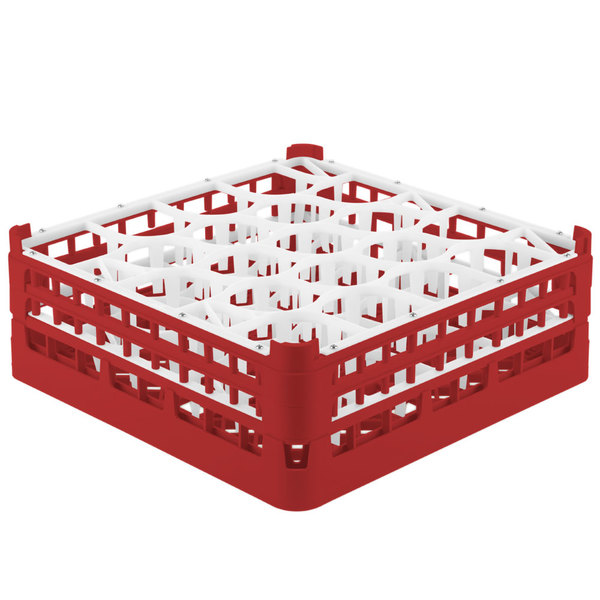 "Vollrath 52703 Signature Lemon Drop Full-Size Red 20-Compartment 5 11/16"" Tall Glass Rack Main Image 1"