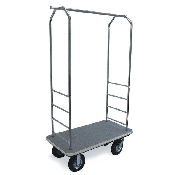 """CSL 2000GY-010 Chrome Finish Bellman's Cart with Rectangular Gray Carpet Base, Gray Bumper, Clothing Rail, and 8"""" Black Pneumatic Casters - 43"""" x 23"""" x 72 1/2"""" Main Image 1"""