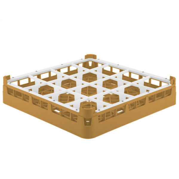 """Vollrath 52694 Signature Full-Size Gold 16-Compartment 2 13/16"""" Short Glass Rack"""
