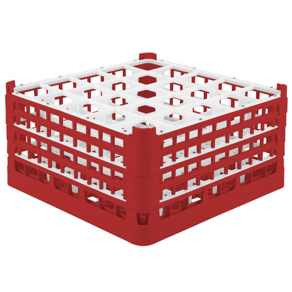 """Vollrath 52713 Signature Full-Size Red 25-Compartment 8 1/2"""" XX-Tall Glass Rack"""