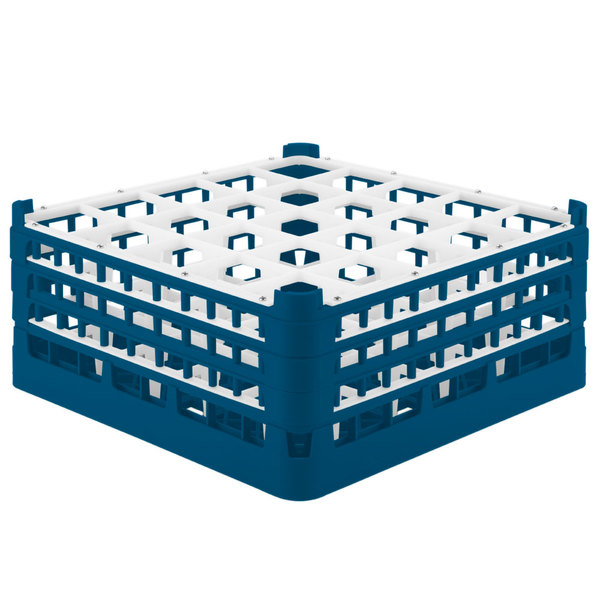 """Vollrath 52712 Signature Full-Size Royal Blue 25-Compartment 7 1/8"""" X-Tall Glass Rack Main Image 1"""