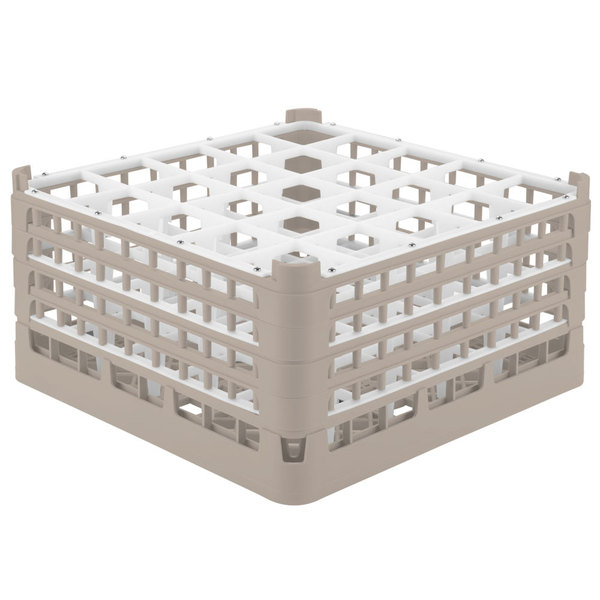 """Vollrath 52713 Signature Full-Size Beige 25-Compartment 8 1/2"""" XX-Tall Glass Rack Main Image 1"""