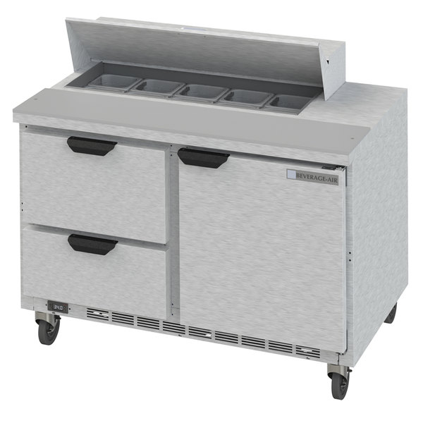 """Beverage-Air SPED48HC-10-2 48"""" 1 Door 2 Drawer Refrigerated Sandwich Prep Table Main Image 1"""