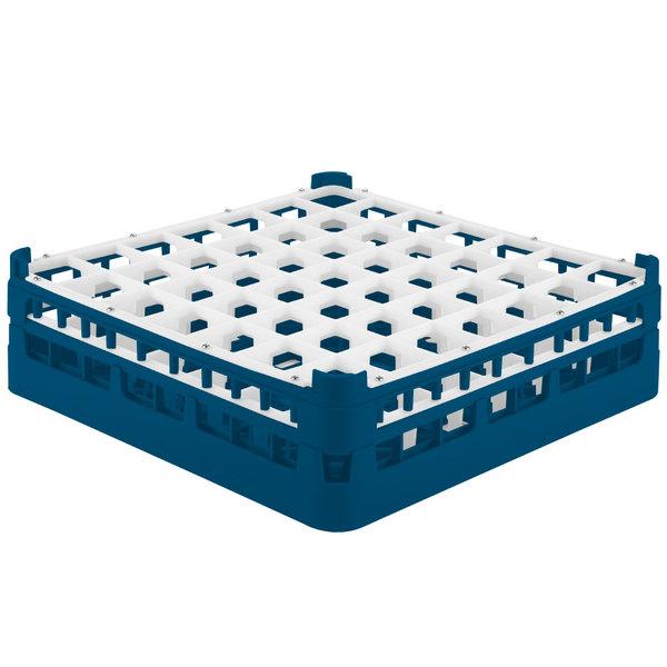 "Vollrath 52722 Signature Full-Size Royal Blue 49-Compartment 4 5/16"" Medium Glass Rack"