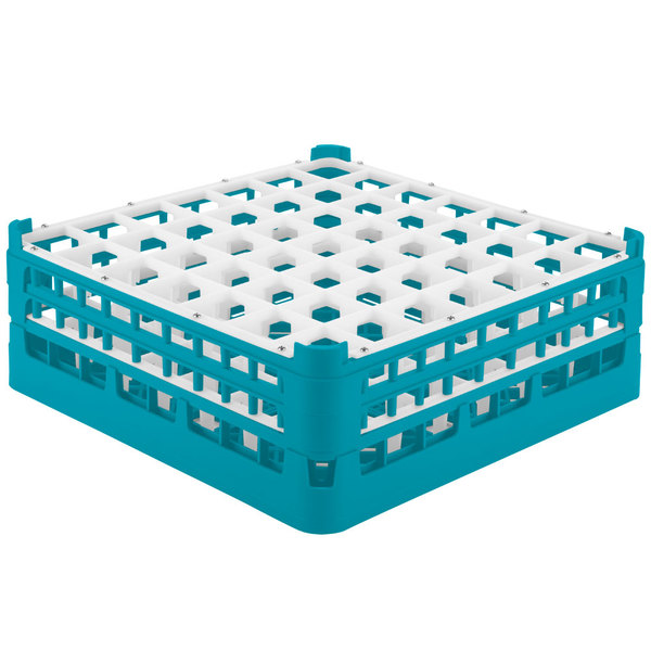 """Vollrath 52723 Signature Full-Size Light Blue 49-Compartment 5 11/16"""" Tall Glass Rack Main Image 1"""