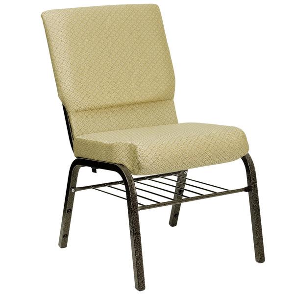 "Flash Furniture XU-CH-60096-BGE-BAS-GG Beige 18 1/2"" Wide Church Chair with Communion Cup Book Rack - Gold Vein Frame Main Image 1"