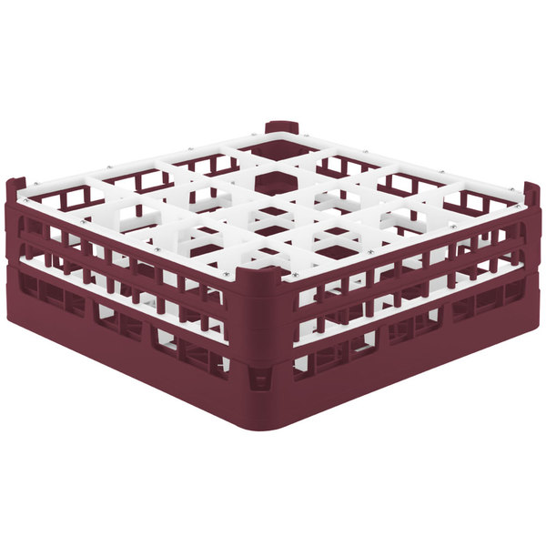 "Vollrath 52719 Signature Full-Size Burgundy 16-Compartment 5 11/16"" Tall Glass Rack Main Image 1"