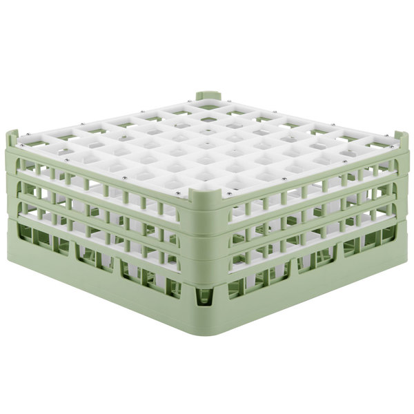 """Vollrath 52724 Signature Full-Size Light Green 49-Compartment 7 1/8"""" X-Tall Glass Rack Main Image 1"""
