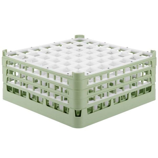 "Vollrath 52724 Signature Full-Size Light Green 49-Compartment 7 1/8"" X-Tall Glass Rack"