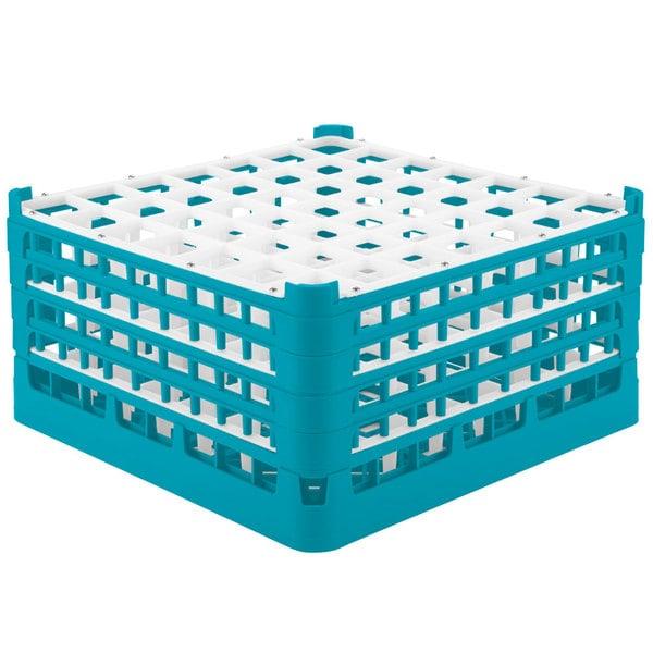 "Vollrath 52725 Signature Full-Size Light Blue 49-Compartment 8 1/2"" XX-Tall Glass Rack"