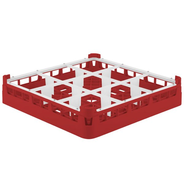 """Vollrath 52726 Signature Full-Size Red 9-Compartment 2 13/16"""" Short Glass Rack Main Image 1"""