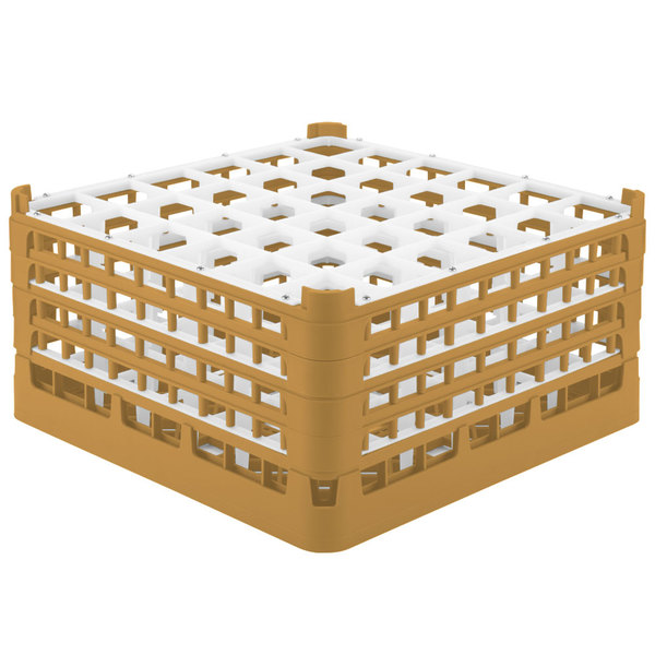 "Vollrath 52717 Signature Full-Size Gold 36-Compartment 8 1/2"" XX-Tall Glass Rack Main Image 1"