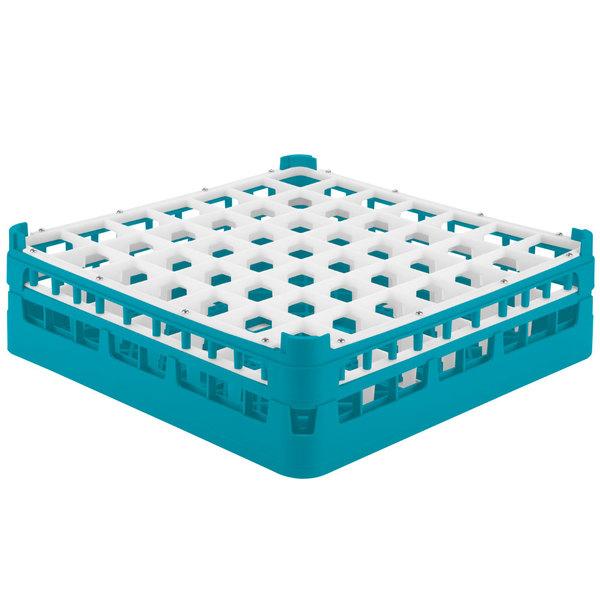 "Vollrath 52722 Signature Full-Size Light Blue 49-Compartment 4 5/16"" Medium Glass Rack Main Image 1"