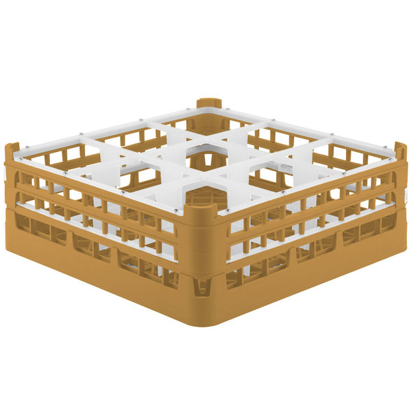 """Vollrath 52728 Signature Full-Size Gold 9-Compartment 5 11/16"""" Tall Glass Rack Main Image 1"""