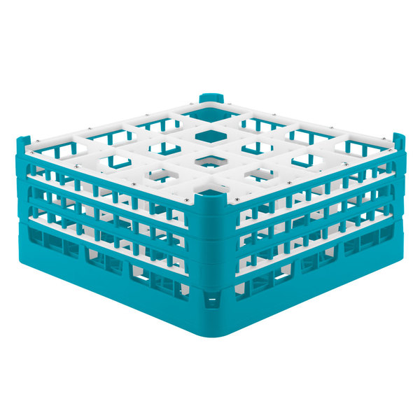 "Vollrath 52720 Signature Full-Size Light Blue 16-Compartment 7 1/8"" X-Tall Glass Rack"