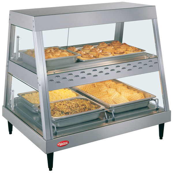 """Hatco GRHDH-2PD Stainless Steel Glo-Ray 33 3/8"""" Full Service Dual Shelf Merchandiser with Humidity Chamber"""