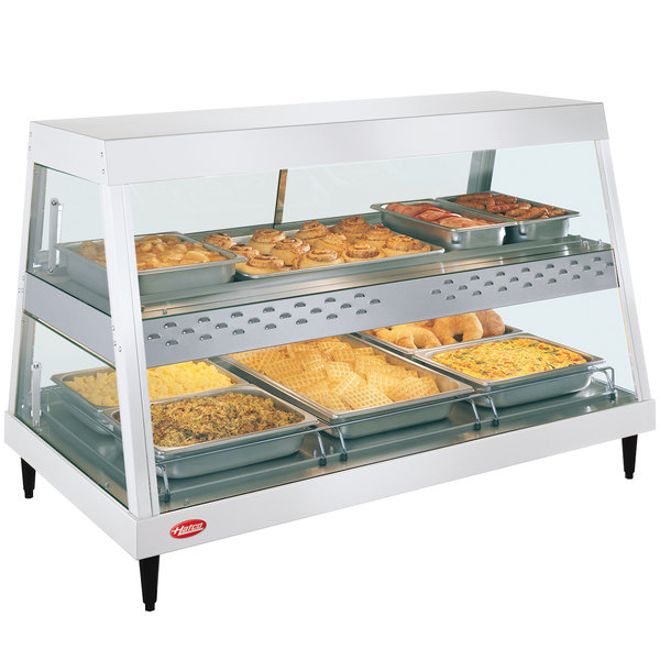 """Hatco GRHDH-3PD White Granite Stainless Steel Glo-Ray 46 3/8"""" Full Service Dual Shelf Merchandiser with Humidity Chamber"""