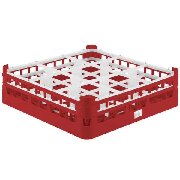 """Vollrath 52727 Signature Full-Size Red 9-Compartment 4 5/16"""" Medium Glass Rack"""