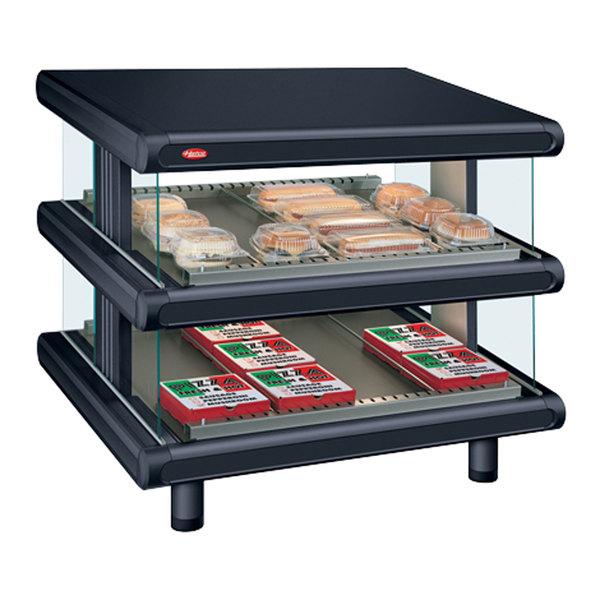 """Hatco GR2SDS-54D Black Glo-Ray Designer 54"""" Slanted Double Shelf Merchandiser - 120/208V"""