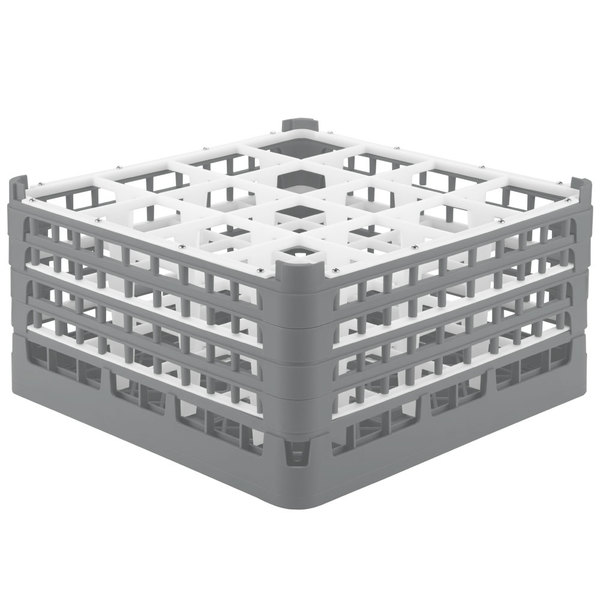 """Vollrath 52721 Signature Full-Size Gray 16-Compartment 8 1/2"""" XX-Tall Glass Rack"""