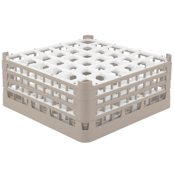 """Vollrath 52716 Signature Full-Size Beige 36-Compartment 7 1/8"""" X-Tall Glass Rack"""