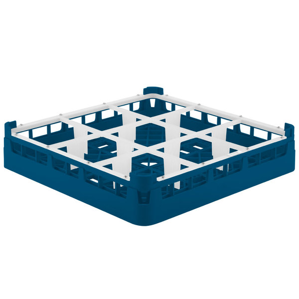 "Vollrath 52726 Signature Full-Size Royal Blue 9-Compartment 2 13/16"" Short Glass Rack"