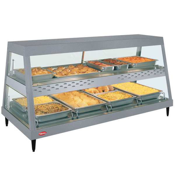 """Hatco GRHDH-4PD Gray Granite Stainless Steel Glo-Ray 59 3/8"""" Full Service Dual Shelf Merchandiser with Humidity Chamber - 120/208V"""