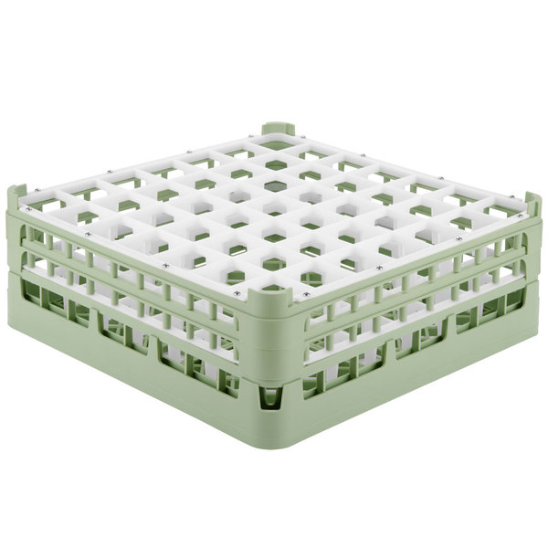 """Vollrath 52723 Signature Full-Size Light Green 49-Compartment 5 11/16"""" Tall Glass Rack Main Image 1"""