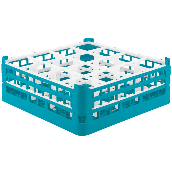 """Vollrath 52719 Signature Full-Size Light Blue 16-Compartment 5 11/16"""" Tall Glass Rack"""
