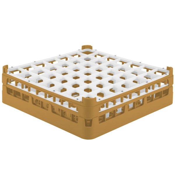 "Vollrath 52722 Signature Full-Size Gold 49-Compartment 4 5/16"" Medium Glass Rack"