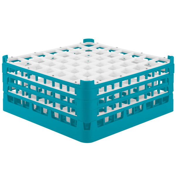 """Vollrath 52724 Signature Full-Size Light Blue 49-Compartment 7 1/8"""" X-Tall Glass Rack Main Image 1"""