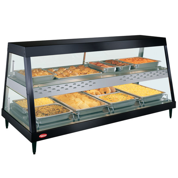 "Hatco GRHDH-4PD Black Stainless Steel Glo-Ray 59 3/8"" Full Service Dual Shelf Merchandiser with Humidity Chamber - 120/208V"