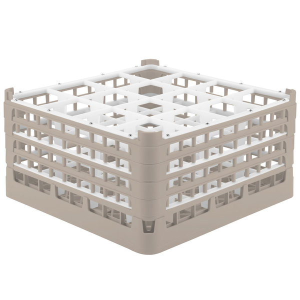 "Vollrath 52721 Signature Full-Size Beige 16-Compartment 8 1/2"" XX-Tall Glass Rack Main Image 1"