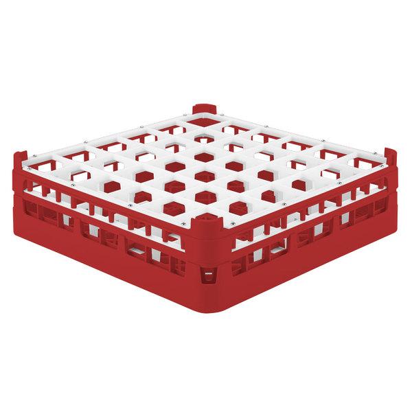 """Vollrath 52714 Signature Full-Size Red 36-Compartment 4 5/16"""" Medium Glass Rack"""