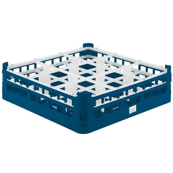 "Vollrath 52727 Signature Full-Size Royal Blue 9-Compartment 4 5/16"" Medium Glass Rack Main Image 1"