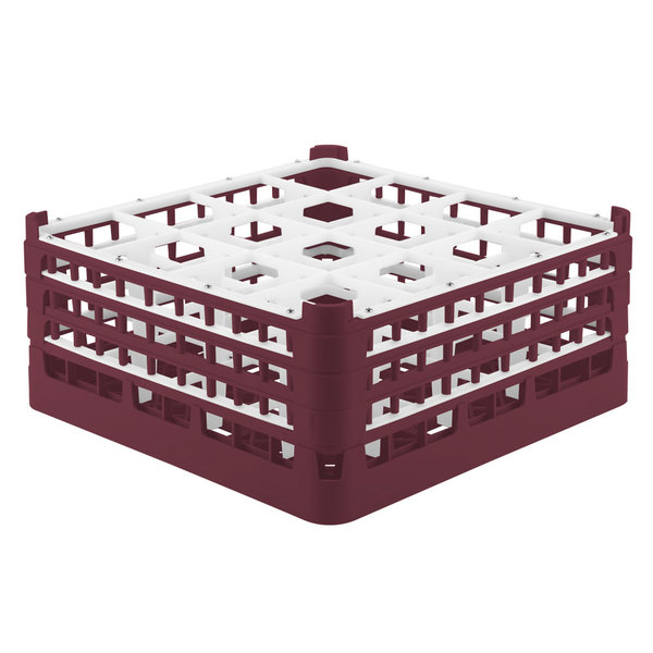 """Vollrath 52720 Signature Full-Size Burgundy 16-Compartment 7 1/8"""" X-Tall Glass Rack"""