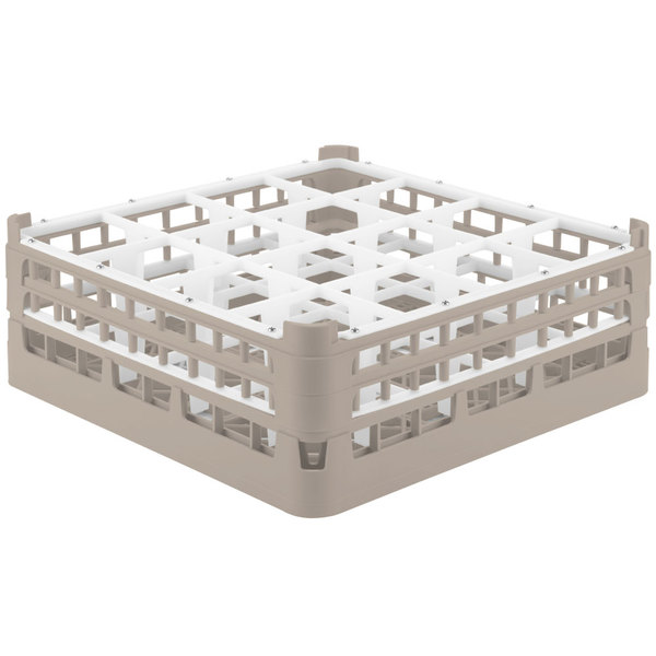 "Vollrath 52719 Signature Full-Size Beige 16-Compartment 5 11/16"" Tall Glass Rack"