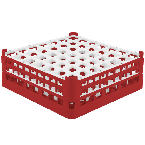 """Vollrath 52723 Signature Full-Size Red 49-Compartment 5 11/16"""" Tall Glass Rack Main Image 1"""