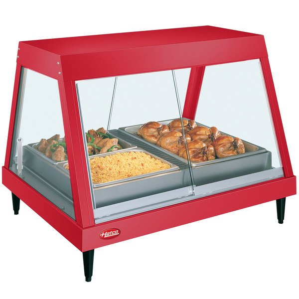 """Hatco GRHDH-2P Warm Red Stainless Steel Glo-Ray 33 3/8"""" Full Service Single Shelf Merchandiser with Humidity Chamber"""