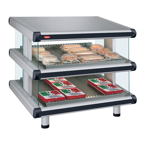 """Hatco GR2SDS-60D White Granite Glo-Ray Designer 60"""" Slanted Double Shelf Merchandiser - 120/240V"""