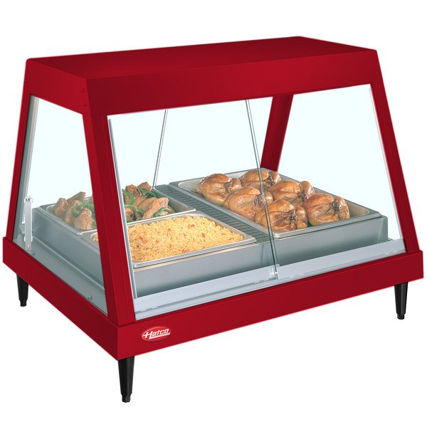 """Hatco GRHDH-4P Warm Red Stainless Steel Glo-Ray 59 3/8"""" Full Service Single Shelf Merchandiser with Humidity Chamber - 120/208V"""