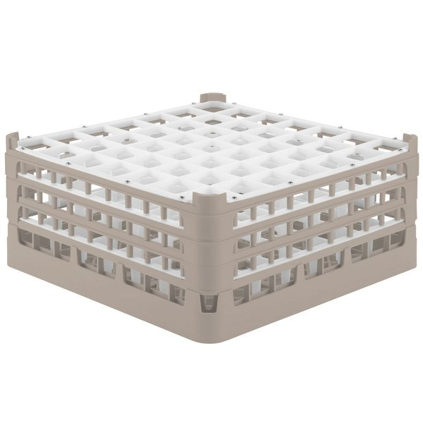 """Vollrath 52724 Signature Full-Size Beige 49-Compartment 7 1/8"""" X-Tall Glass Rack"""